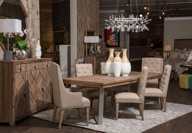 Hudson Ferry 7-Piece Rustic Driftwood Dining Room Table & Chair Set Kathy Ireland