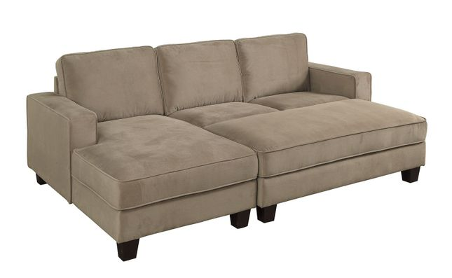 Jancis Transitional Sectional w/ Ottoman in Brown Flannelette Fabric Upholstery