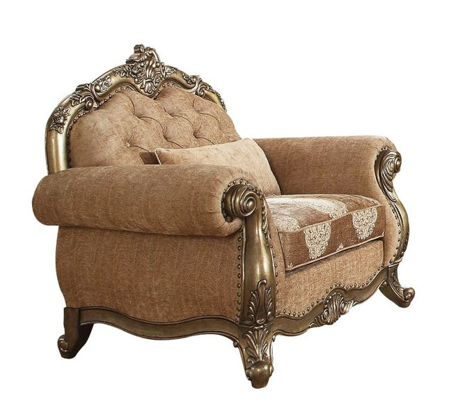 Traditional Beige Fabric & Solid Wood Skirted Chair Vintage Oak Finish