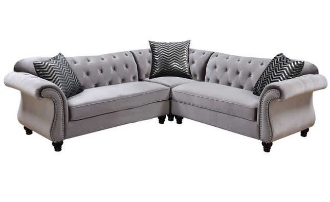 Jolanda II Traditional Crystal Button Tufted Gray ...