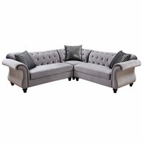 Jolanda II Traditional Crystal Button Tufted Gray Flannelette Sectional Sofa