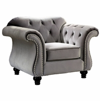Jolanda Traditional Glam Button Tufted Chair in Gray Flannelette Upholstery