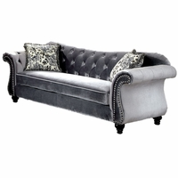 Jolanda Traditional Glam Button Tufted Sofa in Gray Flannelette Upholstery