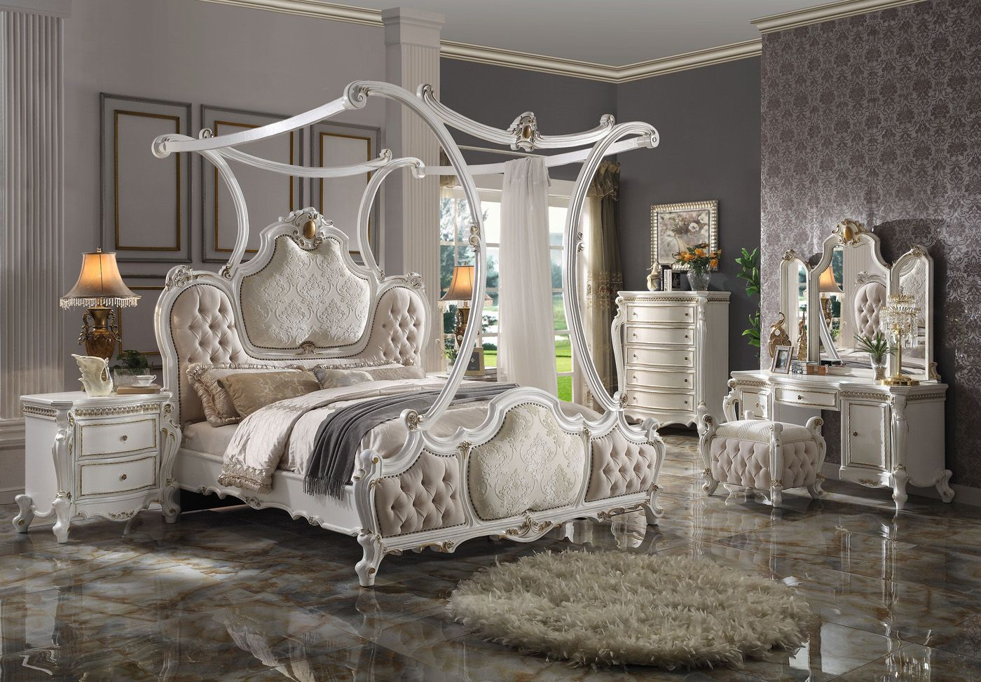 Antique Pearl White Traditional Luxury Canopy Bedroom