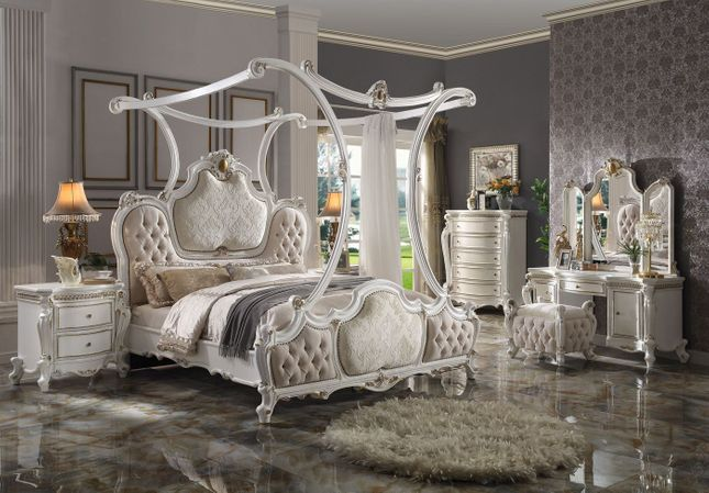 Antique Pearl White Traditional Luxury Canopy Bedroom Furniture Set