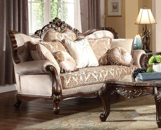 Chenille Sofa With Birch Wood Frame