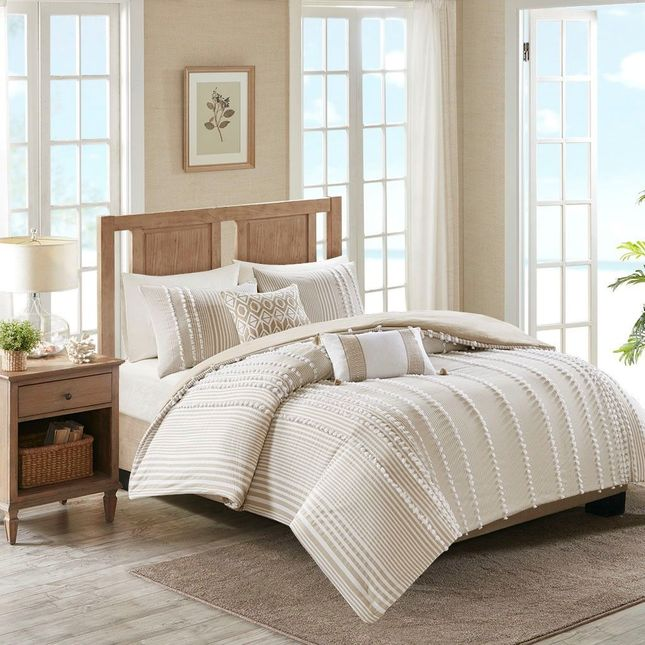 King Anslee 3 Piece Cotton Yarn Dyed Comforter Set Farm House Neutral Brown 1690