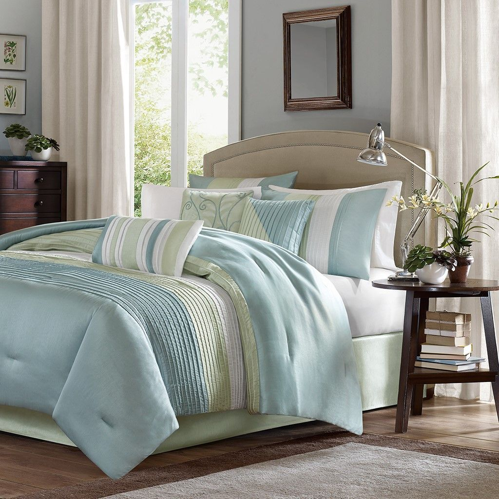 King Size Amherst 7 Piece Comforter Set Green Contemporary ...
