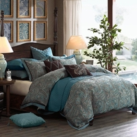 Lauren King Size 8pc Comforter Set in Teal Blue and Espresso Brown Paisley Jacquard