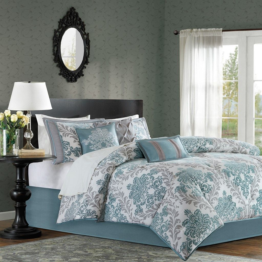 King Size New Bella 7 Piece Comforter Set Blue Green