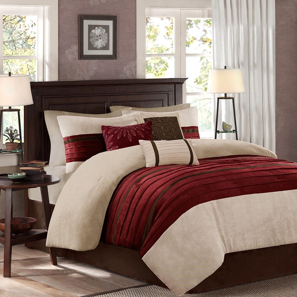 King Size Palmer 7 Piece Comforter Set Red Transitional