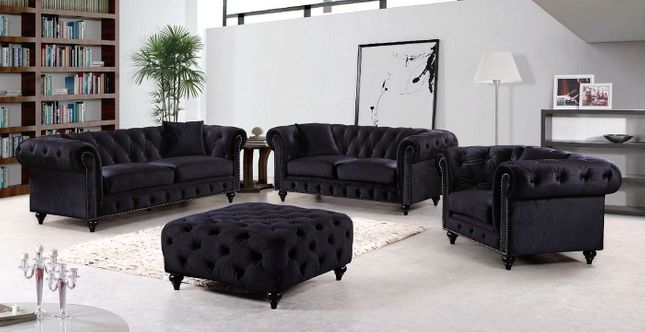 Kristopher Chesterfield Modern Black Velvet Tufted Sofa & Loveseat