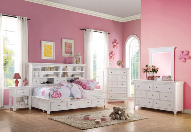 Lacene Kids Traditional Girl's Youth Storage Full 3-pc Bedroom Set in White