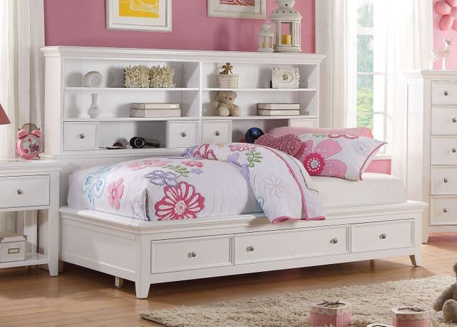 Lacene Kids Traditional Girl's Youth Twin Daybed w/ Storage in White Finish