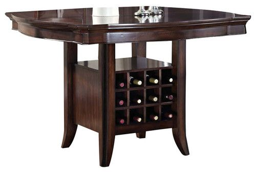 Lansdowne 54 Counter Height Dining Table W Wine Storage Base In
