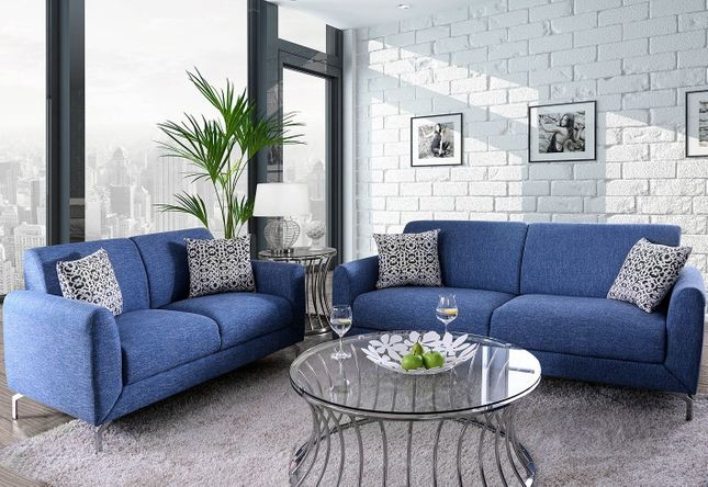 Lauritz Contemporary Sofa & Loveseat Set Upholstered in Blue Linen ...