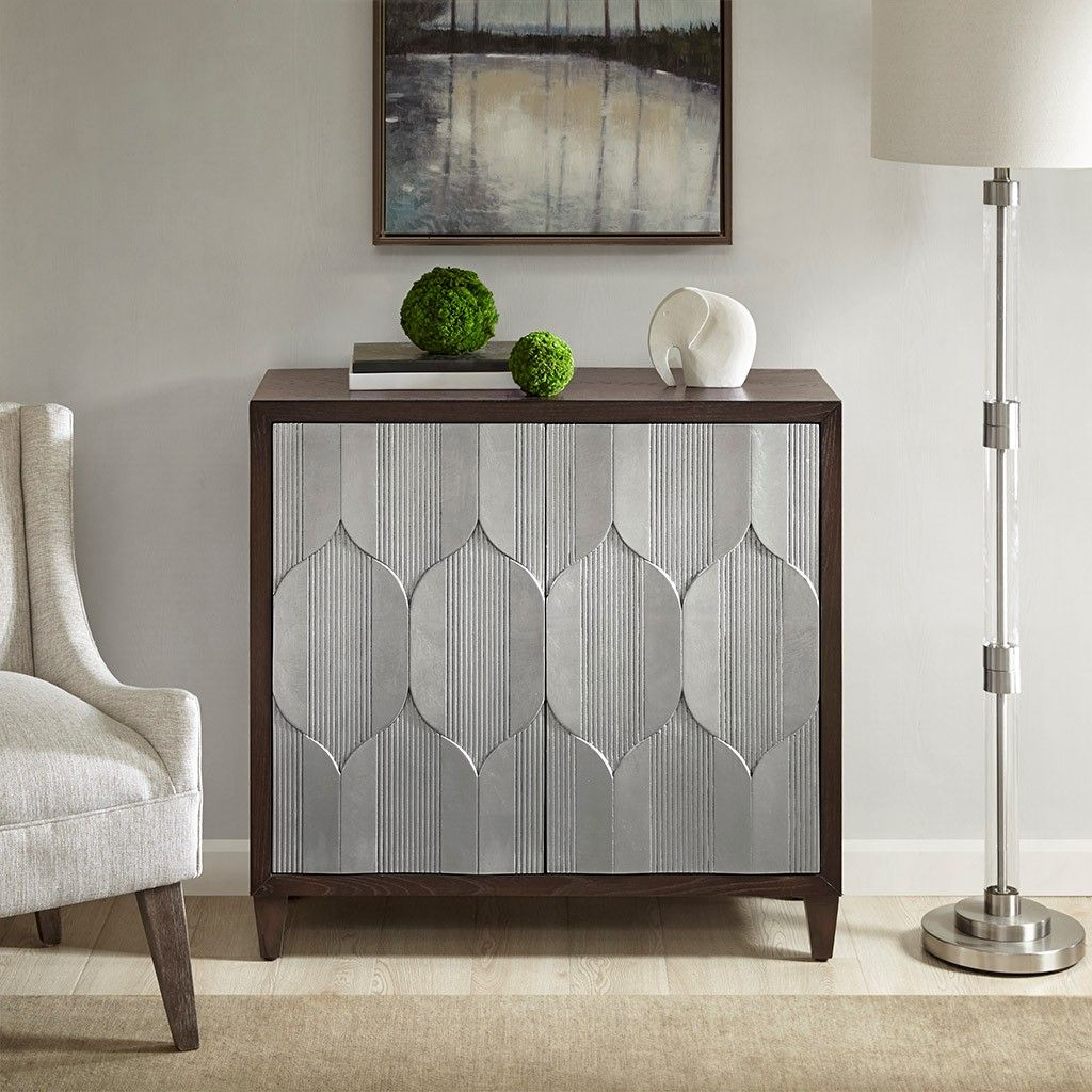 Madison Park Leah Accent Chair: Leah Accent Cabinet Solid Wood, Eclectic Brown Silver
