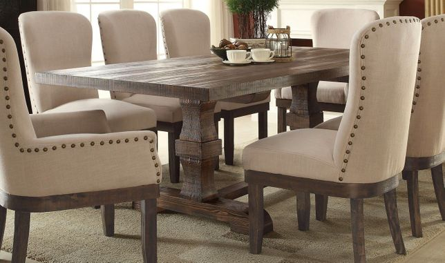 """Leonel 72""""-90"""" Trestle Dining Table in Brown Distressed Wood Finish"""