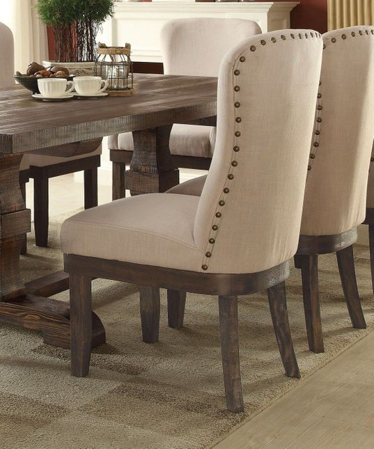 Set of 2, Leonel Rustic Beige Side Chair w/ Brown Distressed Wood Finish
