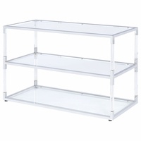 Lex Contemporary Clear Glass TV Stand with Chrome and Acrylic Accents