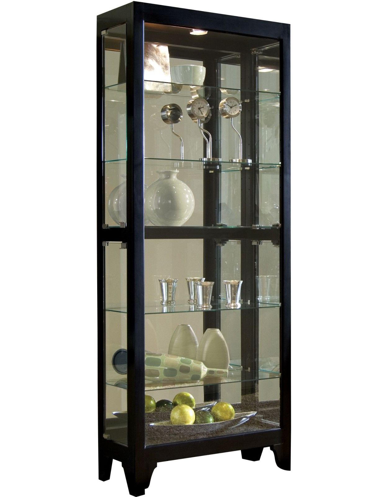 Lighted Gallery Style 5 Shelf Mirrored Back Curio Cabinet ...