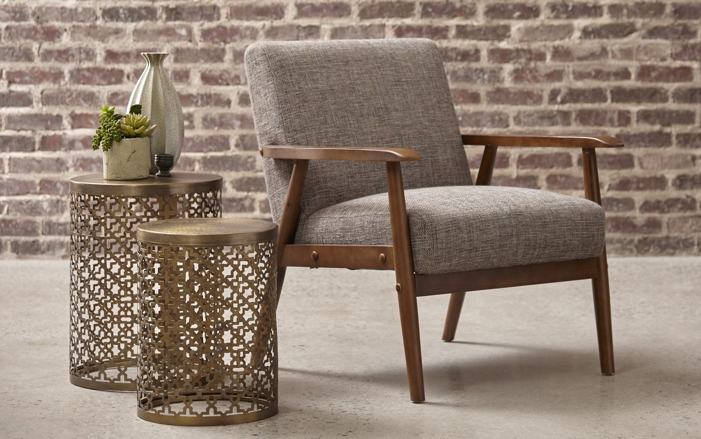 Lillington Calypso Brown Linen Accent Chair With Exposed