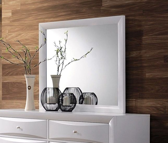 Limerick Transitional Dresser Mirror Framed in White Finish