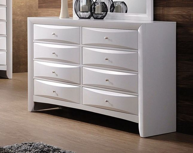 Limerick Transitional Beveled 8-Drawer Dresser in White Finish