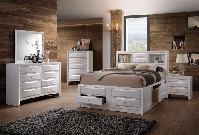 Limerick Transitional 4-pc Storage Queen Platform Bed in White Finish