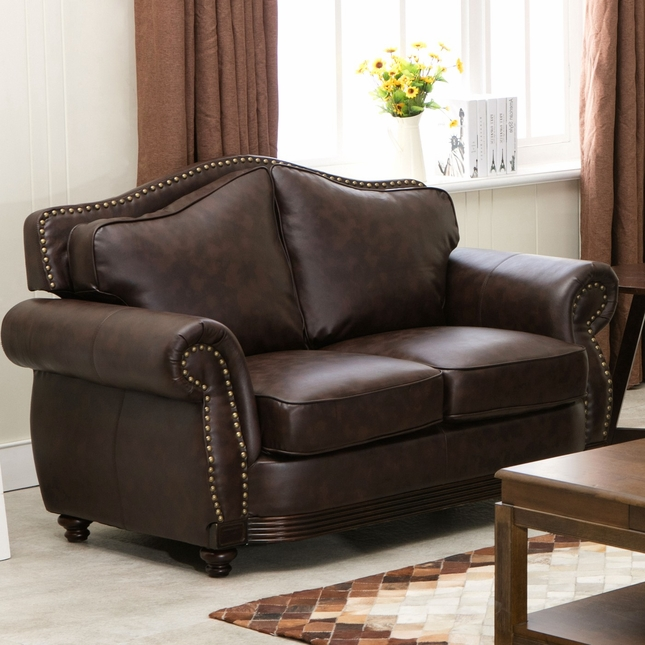 Linden Traditional Brown Bonded Leather Loveseat With Nail