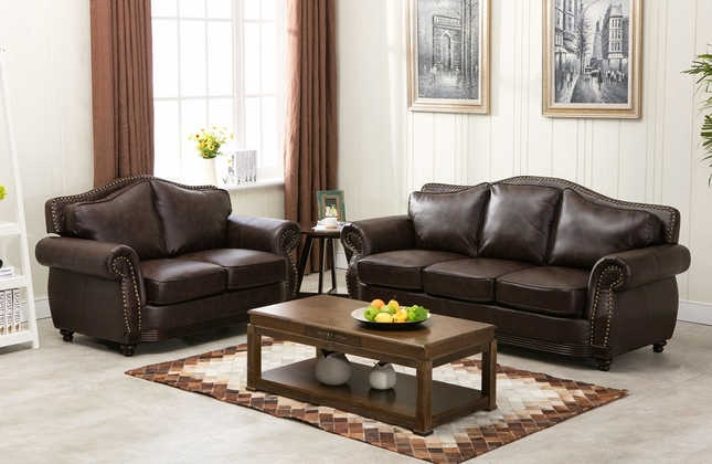 Linden Traditional Brown Bonded Leather Sofa U0026 Loveseat Set With Wood Trim