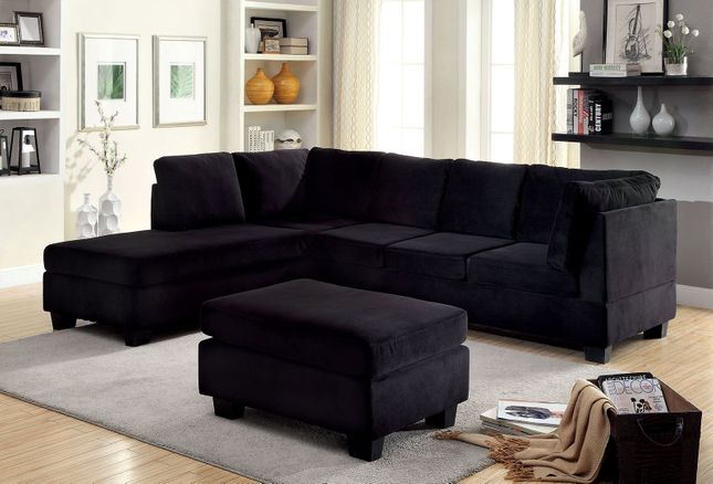 Lomma Contemporary Plush Cushioned Sectional Sofa, Black Flannelette Upholstery