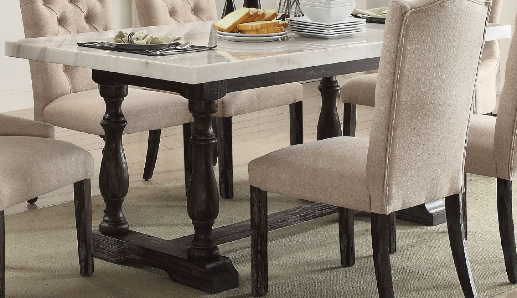 """Lorelei 72"""" White Marble Top Trestle Dining Table Set with ..."""