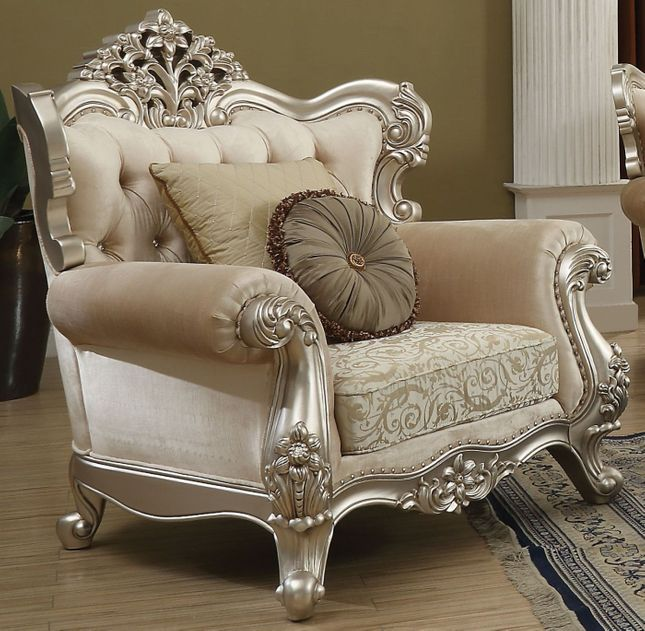 Lourdes Classic Crystal Tufted Beige Fabric Wingback Chair In Champagne Finish