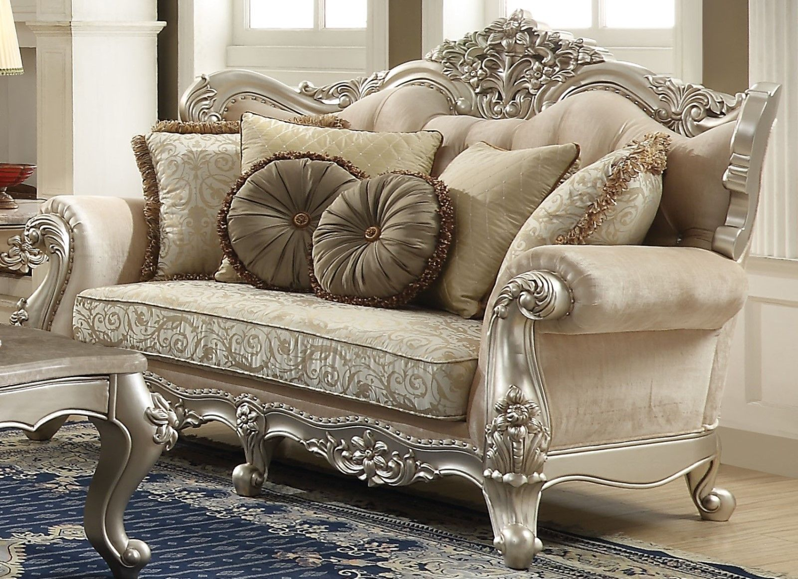 Lourdes Classic Crystal Tufted Beige Fabric Wingback Sofa ...