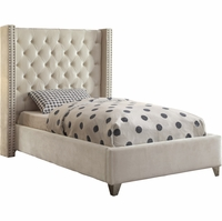 Lucca Contemporary Cream Velvet Button Tufted Twin Platform Bed w/Nailhead Accents
