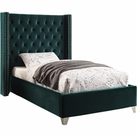 Lucca Contemporary Green Velvet Button Tufted Twin Platform Bed w/Nailhead Accents