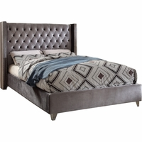 Lucca Contemporary Grey Velvet Button Tufted Queen Platform Bed w/Nailhead Accents