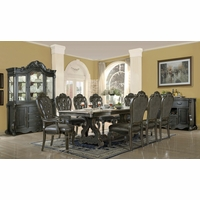 Traditional Gothic Dark Wood Formal Dining Room Set Button Tufted Chairs