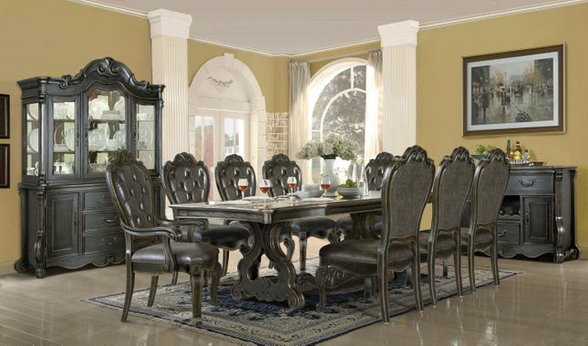 Luciano Traditional Gothic Dark Wood Formal Dining Room Set