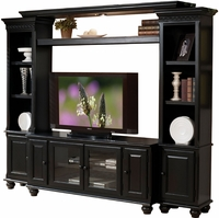 Luella Transitional Entertainment Center with Bridge in Black Finish