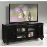 Luella Transitional TV Stand with Glass Doors & Framed Cabinet Fronts in Black