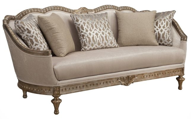Beige Fabric Cabriole Sofa With Exposed