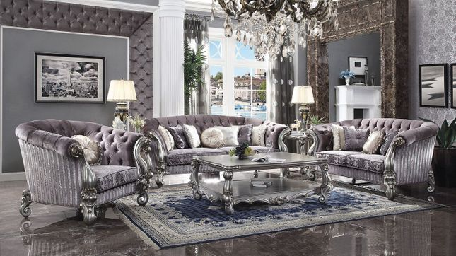 Luxurious Crystal Tufted Dark Gray, Tufted Living Room Furniture