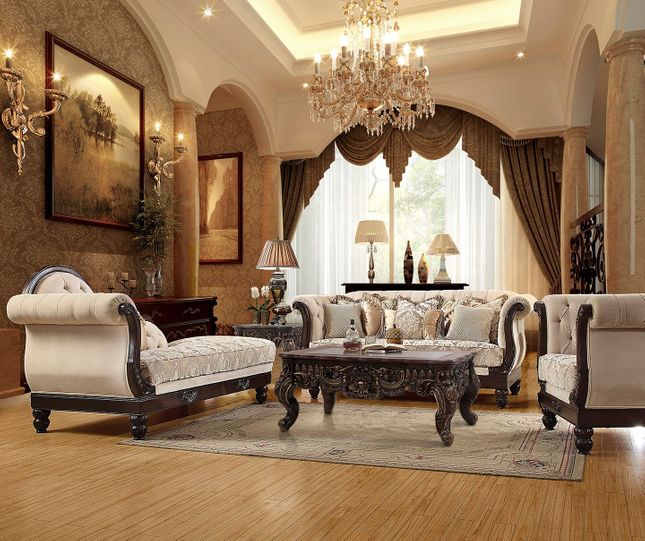 Luxurious Traditional Style Formal Living Room Furniture Sofa & Chaise Lounge