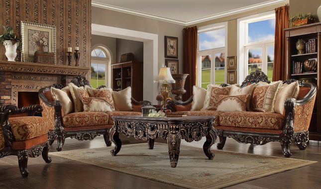 Luxurious Traditional Formal Living Room Furniture Set Dark Walnut & Gold