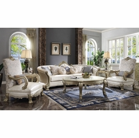 Luxury Oversized Curved Sofa & Two Chairs Pearl White & Gold Carved Accents