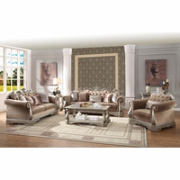Luxury Traditional Sofa Set Antique Style Exposed Wood w/ Elaborate Carvings