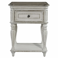 Magnolia 1-Drawer Nightstand with Wood Turned Spindle Legs in Antique White