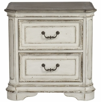 Magnolia 2-Drawer Nightstand with Antique Brass Hardware in Distressed White